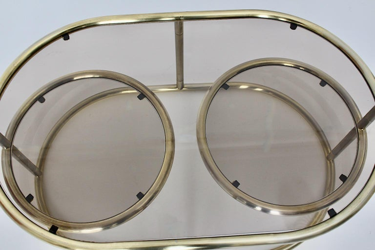 Space Age Vintage Golden Metal Glass Oval Coffee Table Sofa Table, 1960s, Italy For Sale 4