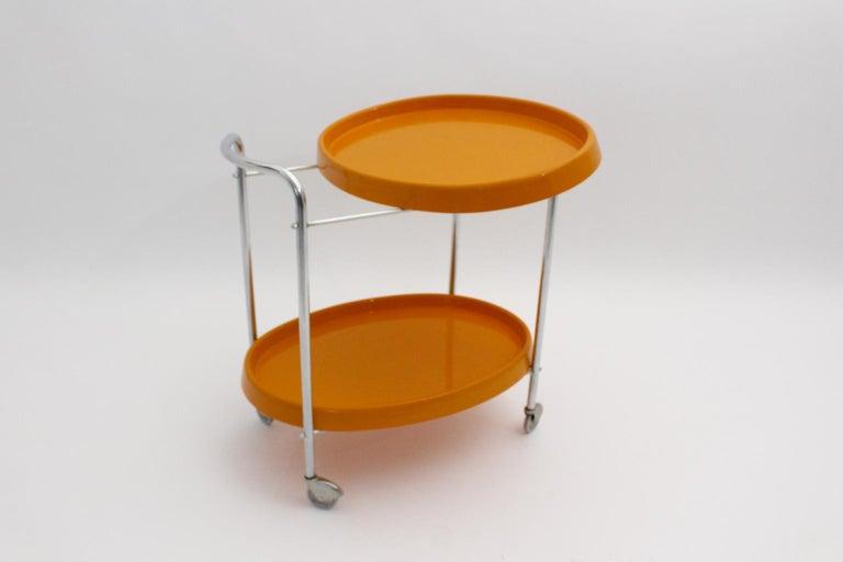 Space Age Vintage Orange Plastic Chromed Bar Cart, 1960s For Sale 1