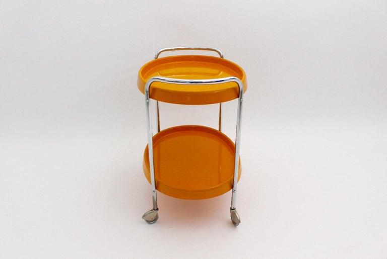Space Age Vintage Orange Plastic Chromed Bar Cart, 1960s For Sale 2