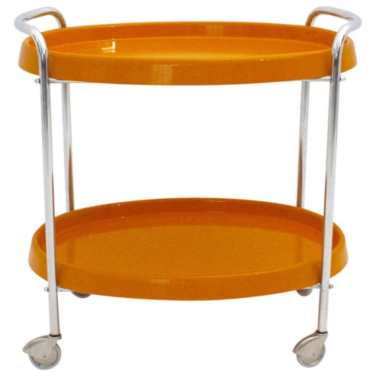 Space Age Vintage Orange Plastic Chromed Bar Cart, 1960s For Sale