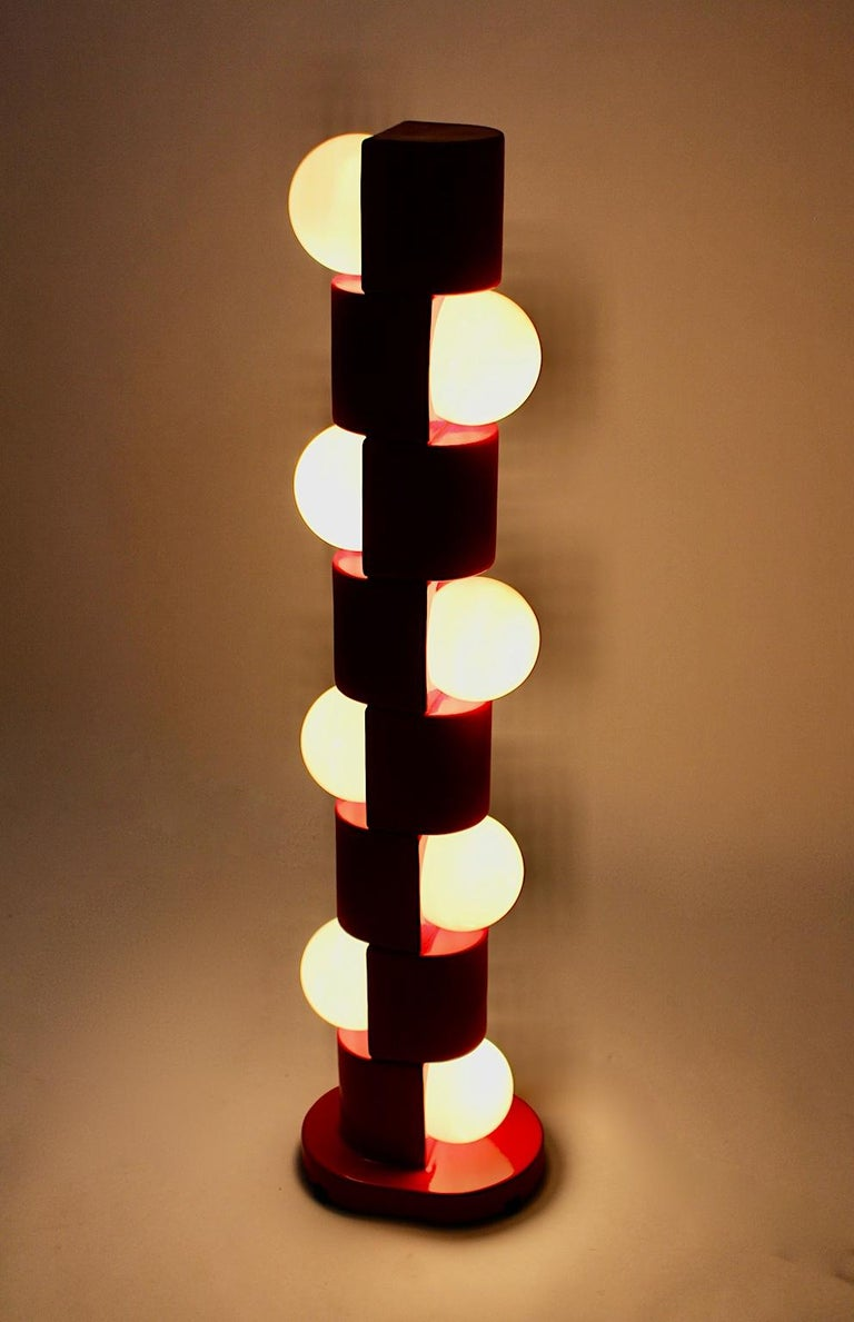 Space Age Vintage Red Ceramic Totem Floor Lamp, 1960s, Italy For Sale 6
