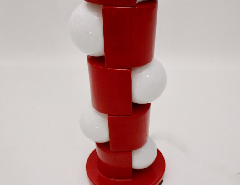 Space Age Vintage Red Ceramic Totem Floor Lamp, 1960s, Italy For Sale 8