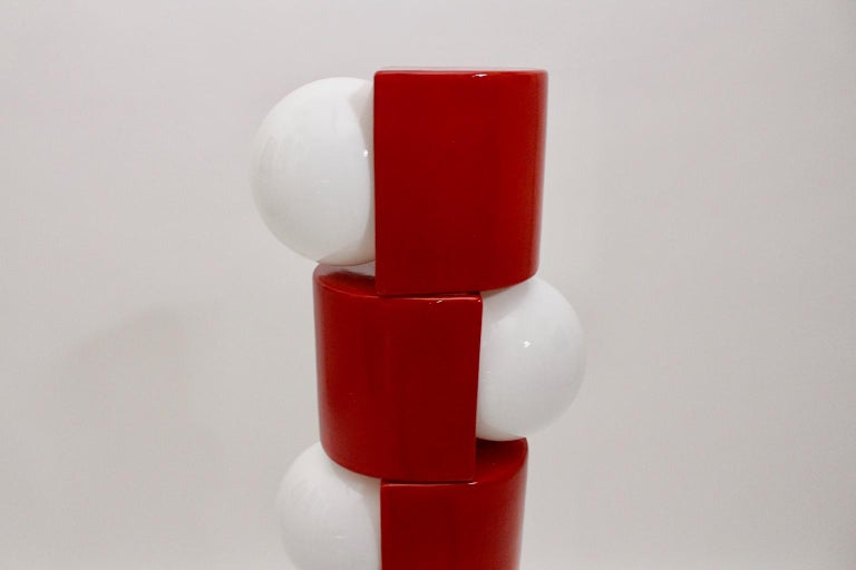 Space Age Vintage Red Ceramic Totem Floor Lamp, 1960s, Italy For Sale 9