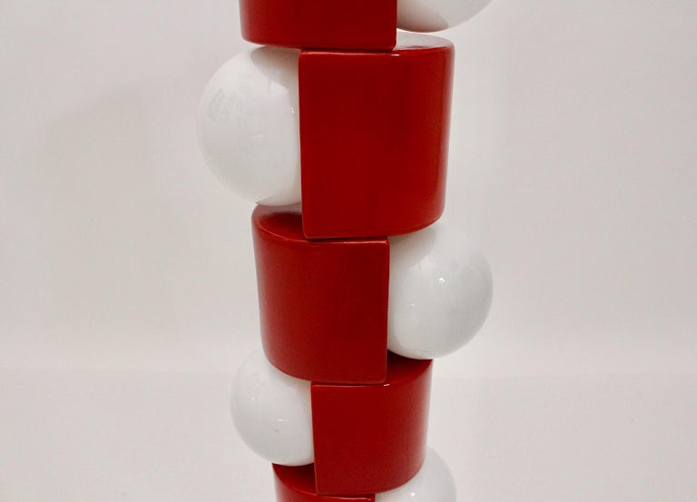Space Age Vintage Red Ceramic Totem Floor Lamp, 1960s, Italy For Sale 11