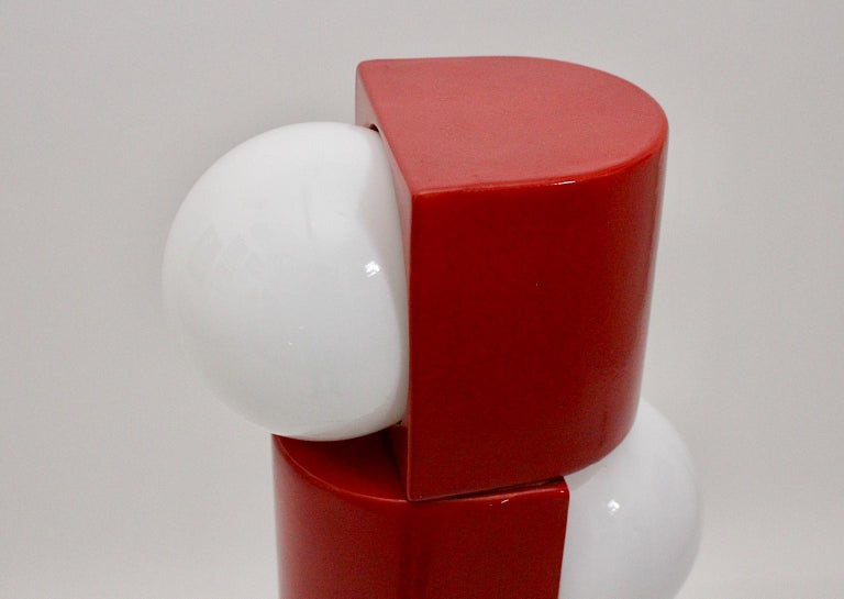 Space Age Vintage Red Ceramic Totem Floor Lamp, 1960s, Italy For Sale 12