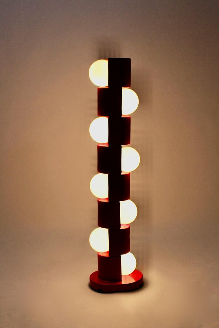 Space Age Vintage Red Ceramic Totem Floor Lamp, 1960s, Italy For Sale 2