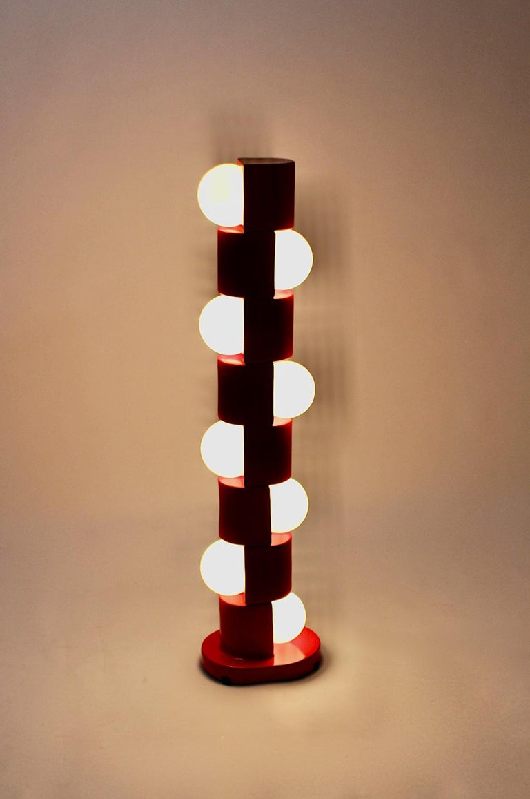 Space Age Vintage Red Ceramic Totem Floor Lamp, 1960s, Italy For Sale 4