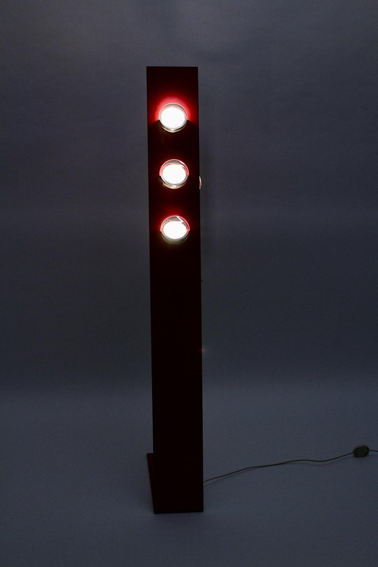Space Age Vintage Red Metal Floor Lamp, Italy, 1960s For Sale 10