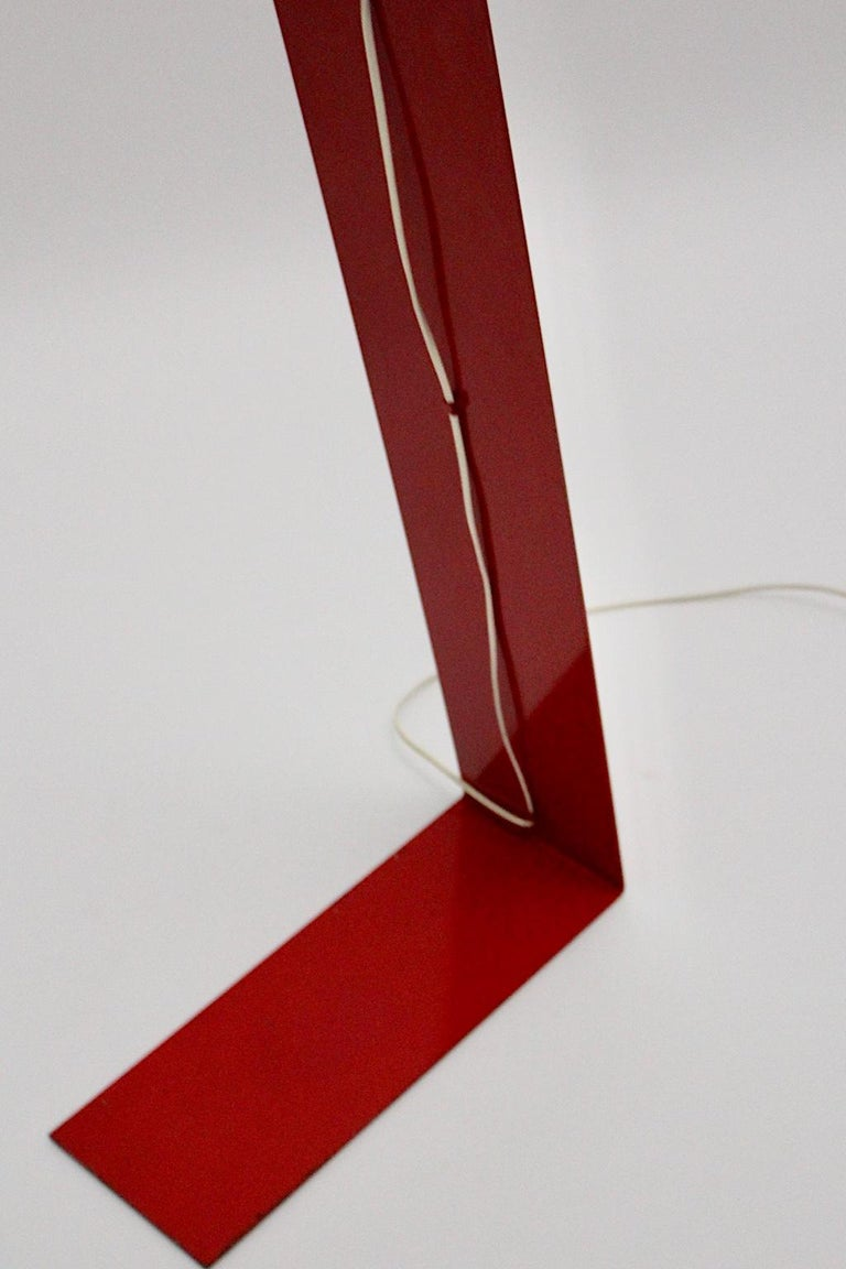 Space Age Vintage Red Metal Floor Lamp, Italy, 1960s For Sale 12