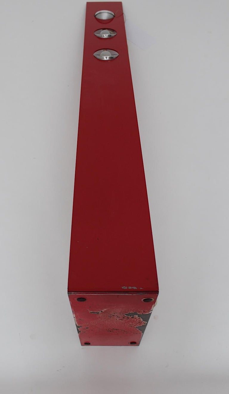 Space Age Vintage Red Metal Floor Lamp, Italy, 1960s For Sale 13