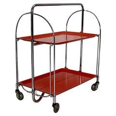 Space Age Vintage Red Orange Serving Table or Bar Cart 1960s Germany
