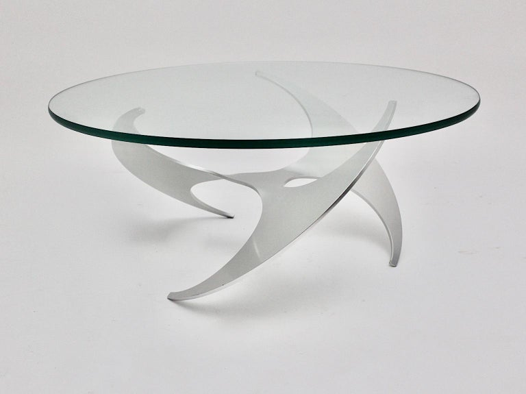 Mid-20th Century Space Age Vintage Silver Aluminum Glass Coffee Table Sofa Table Knut Hesterberg For Sale