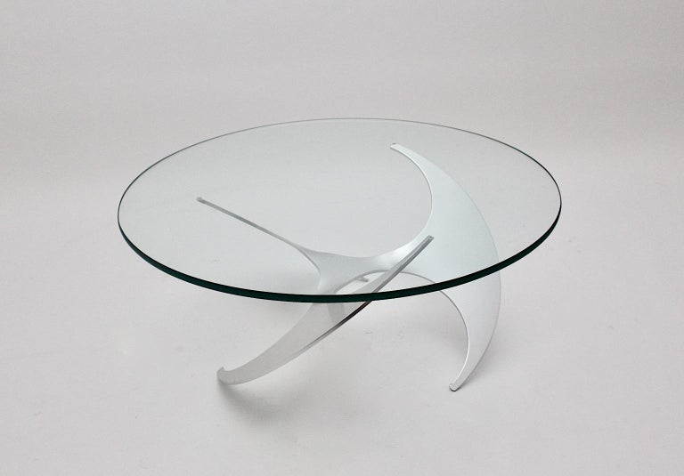 Space Age Vintage Silver Aluminum Glass Coffee Table Sofa Table Knut Hesterberg For Sale 1