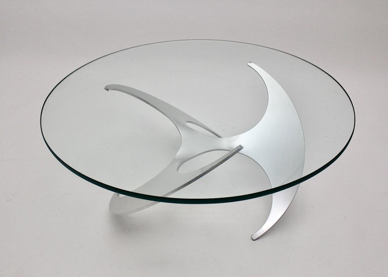 Space Age Vintage Silver Aluminum Glass Coffee Table Sofa Table Knut Hesterberg For Sale 2