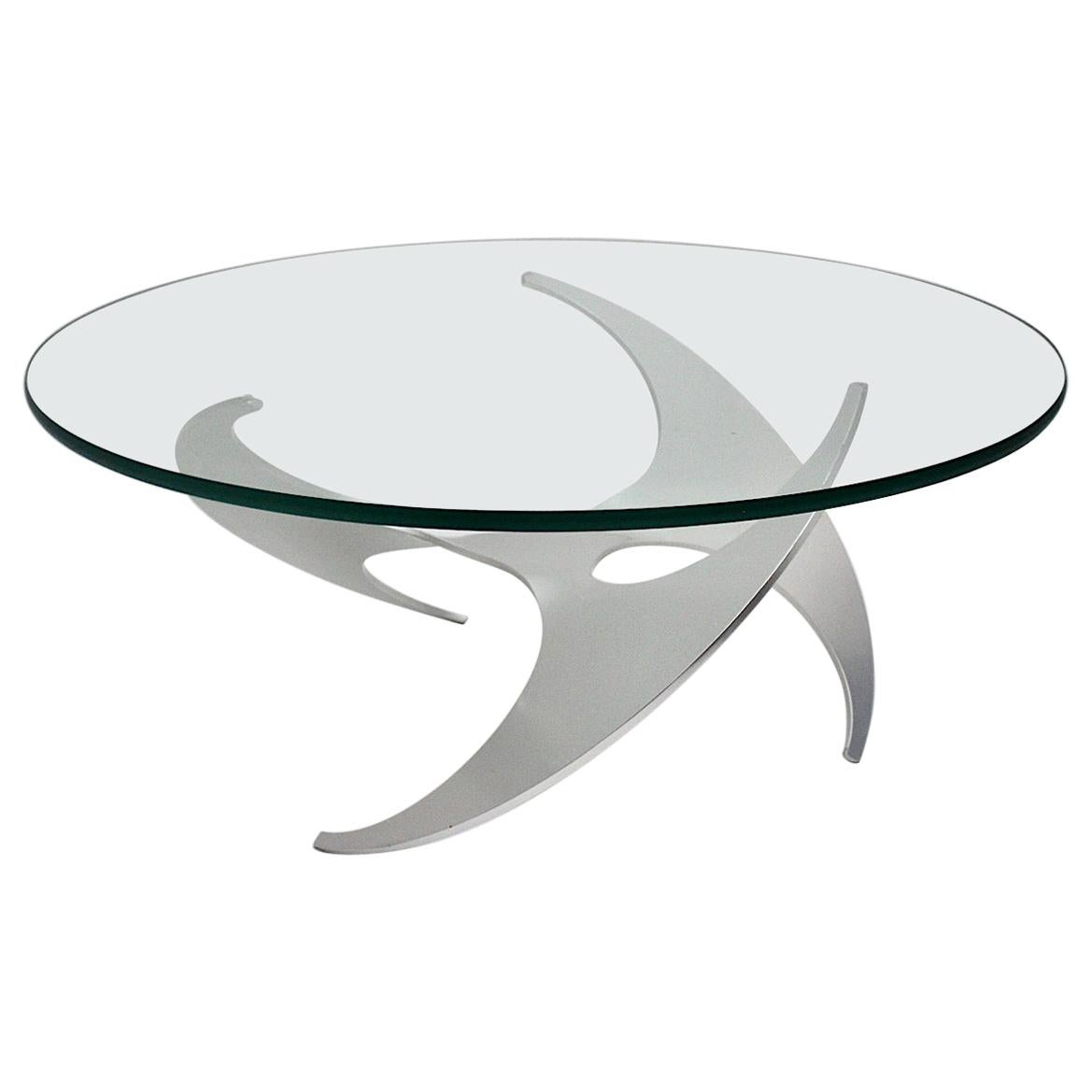 Space Age Vintage Silver Aluminum Glass Coffee Table Sofa Table Knut Hesterberg