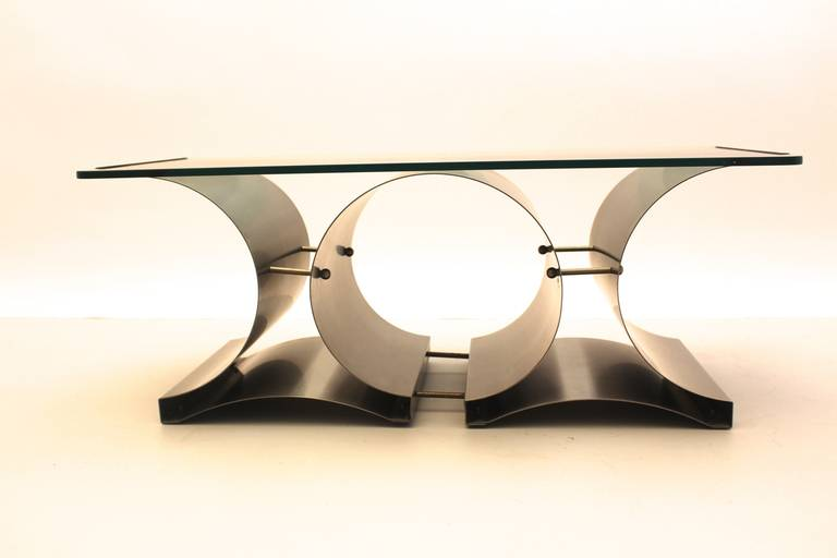 French Space Age Vintage Steel Glass Coffee Table Sofa Table Francois Monnet, c 1970 For Sale
