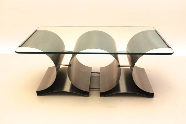 Brushed Space Age Vintage Steel Glass Coffee Table Sofa Table Francois Monnet, c 1970 For Sale