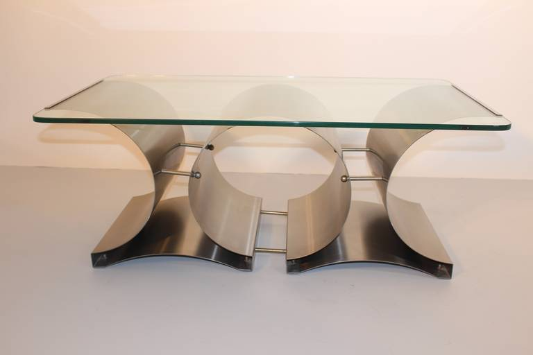 Space Age Vintage Steel Glass Coffee Table Sofa Table Francois Monnet, c 1970 In Good Condition For Sale In Vienna, AT