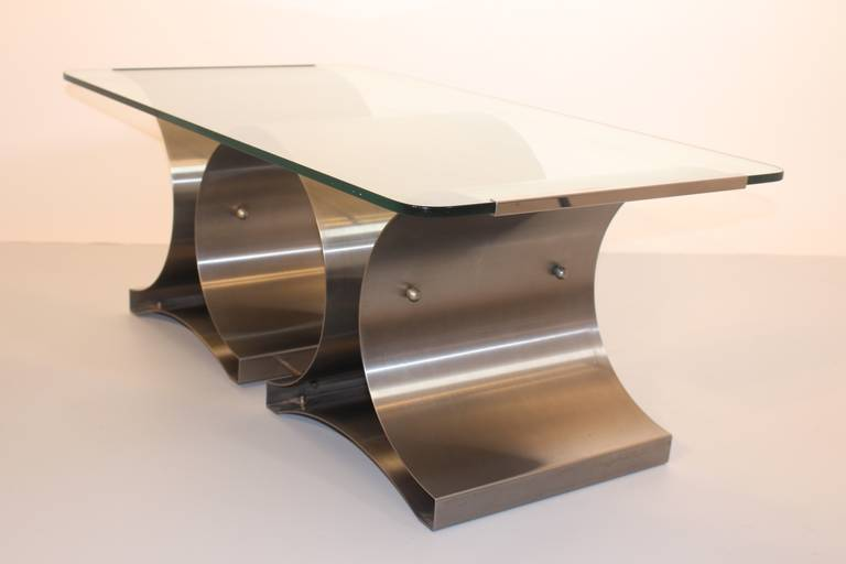 Stainless Steel Space Age Vintage Steel Glass Coffee Table Sofa Table Francois Monnet, c 1970 For Sale