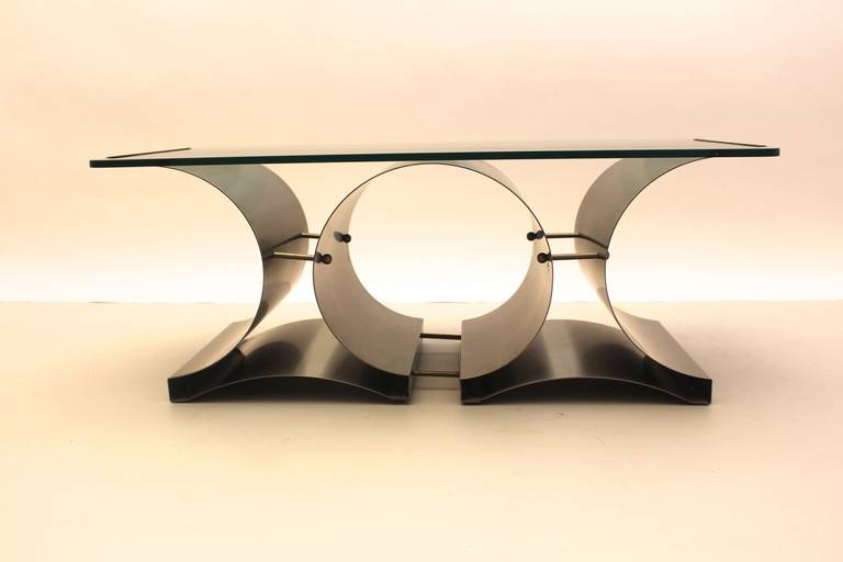 Space Age Vintage Steel Glass Coffee Table Sofa Table Francois Monnet, c 1970 For Sale 2