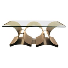 Space Age Vintage Steel Glass Coffee Table Sofa Table Francois Monnet, c 1970