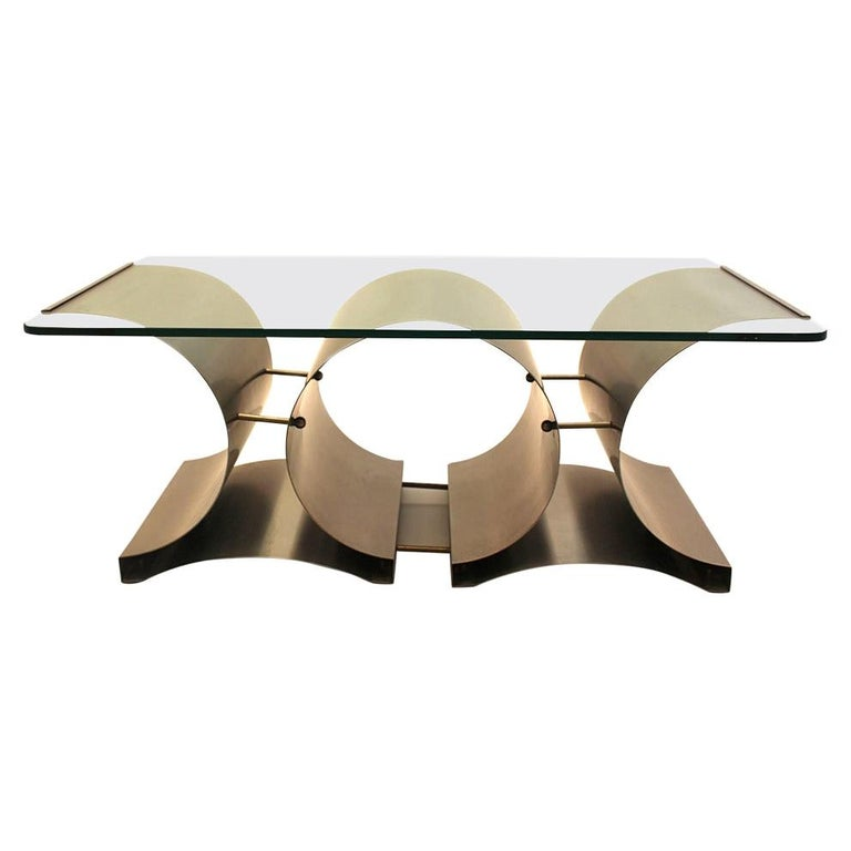 Space Age Vintage Steel Glass Coffee Table Sofa Table Francois Monnet, c 1970 For Sale