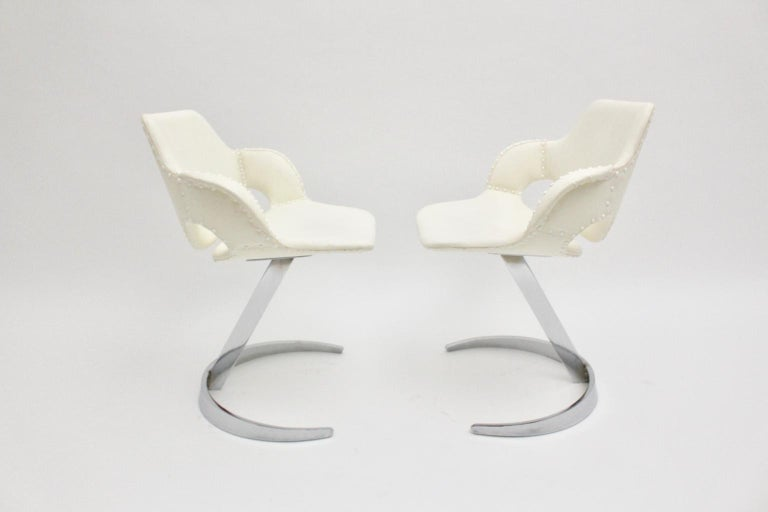 Space Age Vintage White Faux Leather Metal Armchairs Boris Tabacoff, France For Sale 6