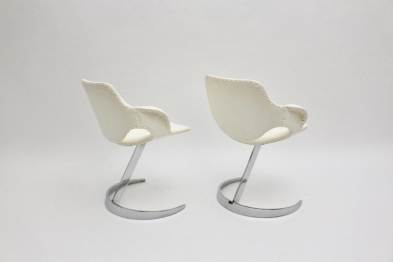 Space Age Vintage White Faux Leather Metal Armchairs Boris Tabacoff, France For Sale 7