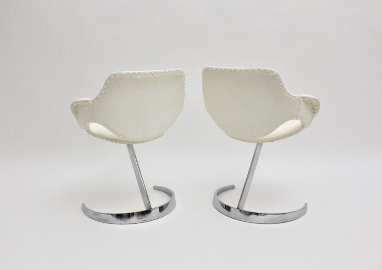 Space Age Vintage White Faux Leather Metal Armchairs Boris Tabacoff, France For Sale 8