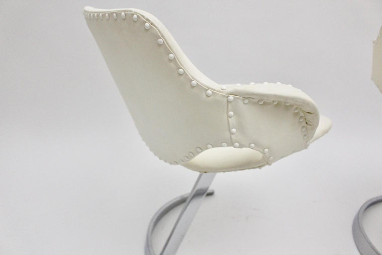 Space Age Vintage White Faux Leather Metal Armchairs Boris Tabacoff, France For Sale 9