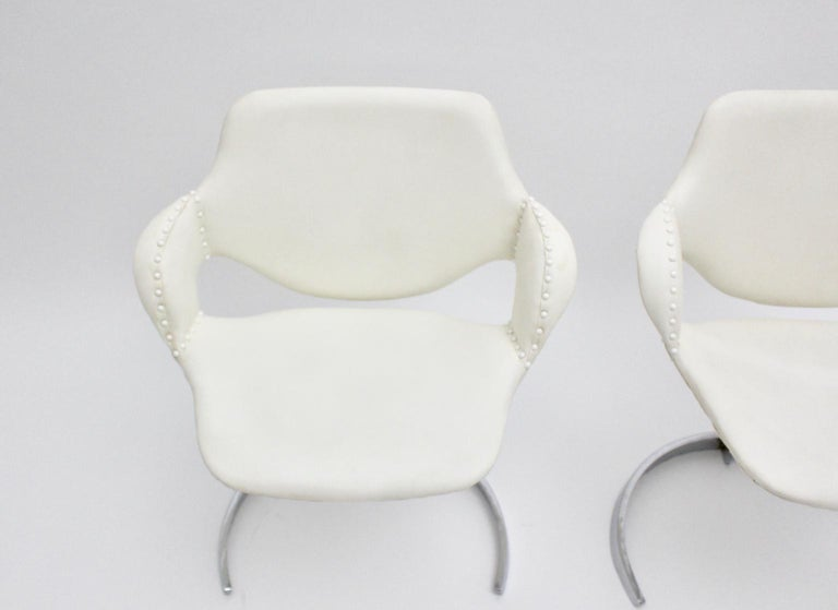 Space Age Vintage White Faux Leather Metal Armchairs Boris Tabacoff, France For Sale 10