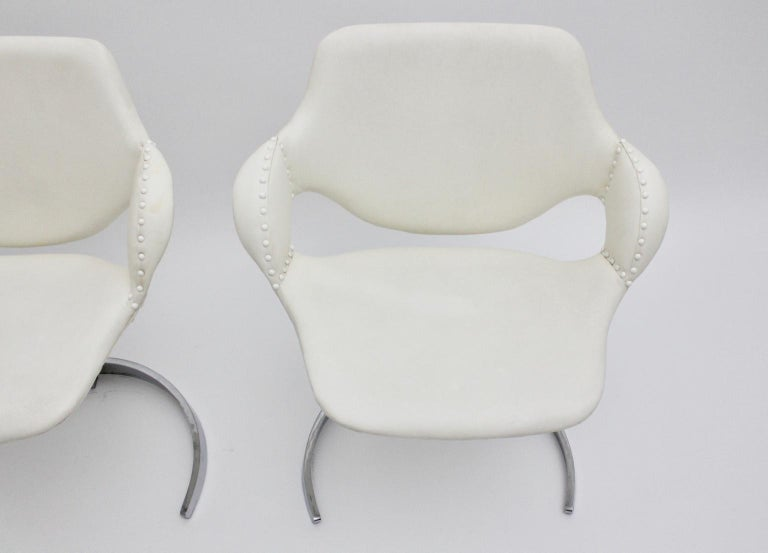 Space Age Vintage White Faux Leather Metal Armchairs Boris Tabacoff, France For Sale 11