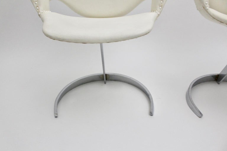 Space Age Vintage White Faux Leather Metal Armchairs Boris Tabacoff, France For Sale 12