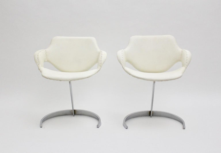 Mid-20th Century Space Age Vintage White Faux Leather Metal Armchairs Boris Tabacoff, France For Sale