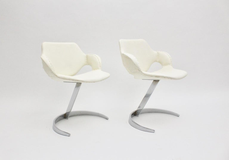 Space Age Vintage White Faux Leather Metal Armchairs Boris Tabacoff, France For Sale 1