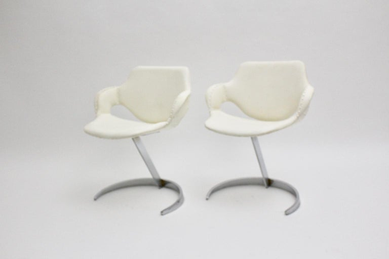 Space Age Vintage White Faux Leather Metal Armchairs Boris Tabacoff, France For Sale 2