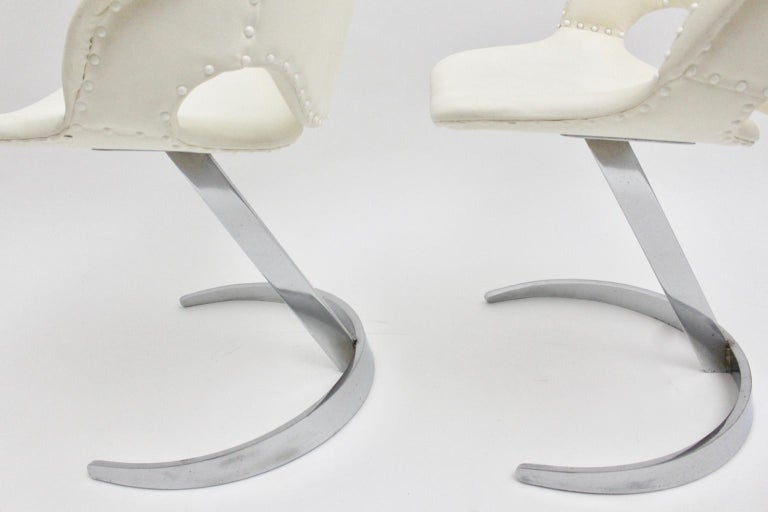 Space Age Vintage White Faux Leather Metal Armchairs Boris Tabacoff, France For Sale 3