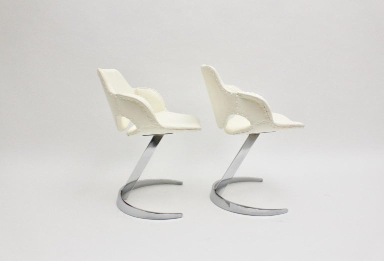 Space Age Vintage White Faux Leather Metal Armchairs Boris Tabacoff, France For Sale 4