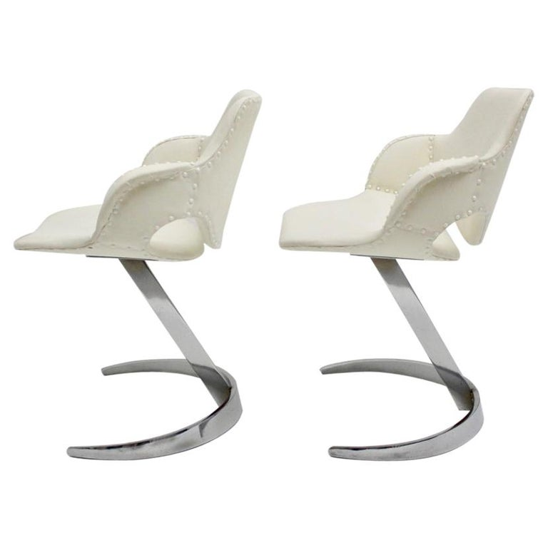 Space Age Vintage White Faux Leather Metal Armchairs Boris Tabacoff, France For Sale