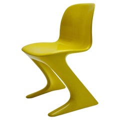 Space Age Vintage Yellow Plastic Chair Kangaroo Chair Ernst Moeckl 1960s Germany