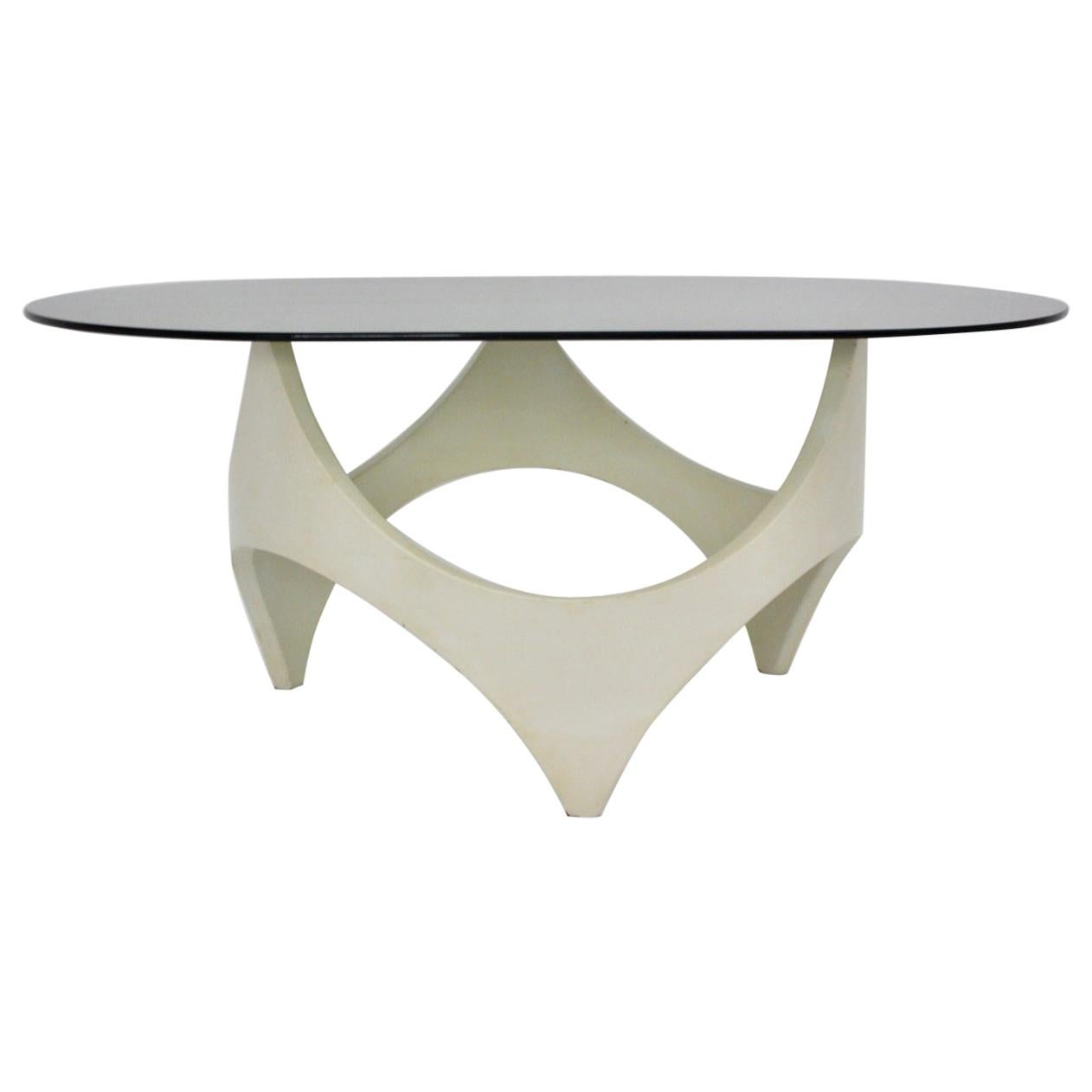 Space Age White Beech Coffee Table by Opal, 1970, Germany