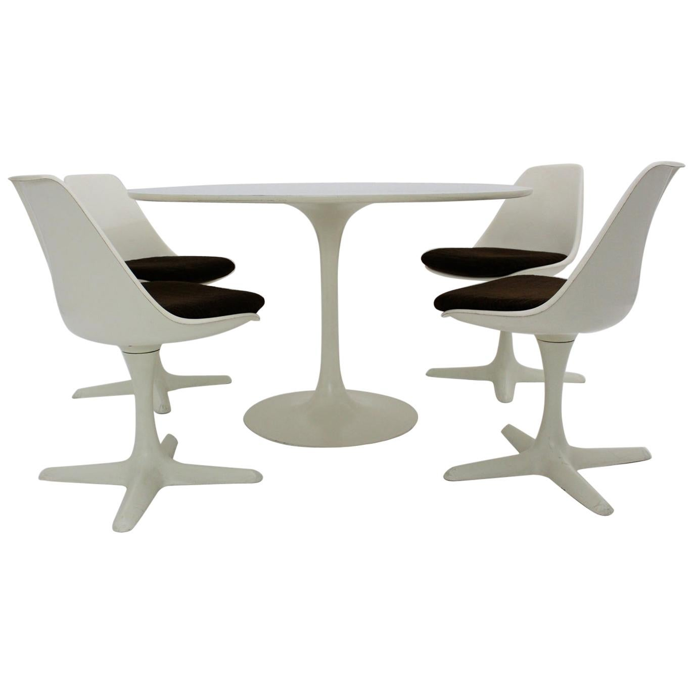 Space Age White Vintage Plastic Dining Room Set by Maurice Burke, 1960s, UK