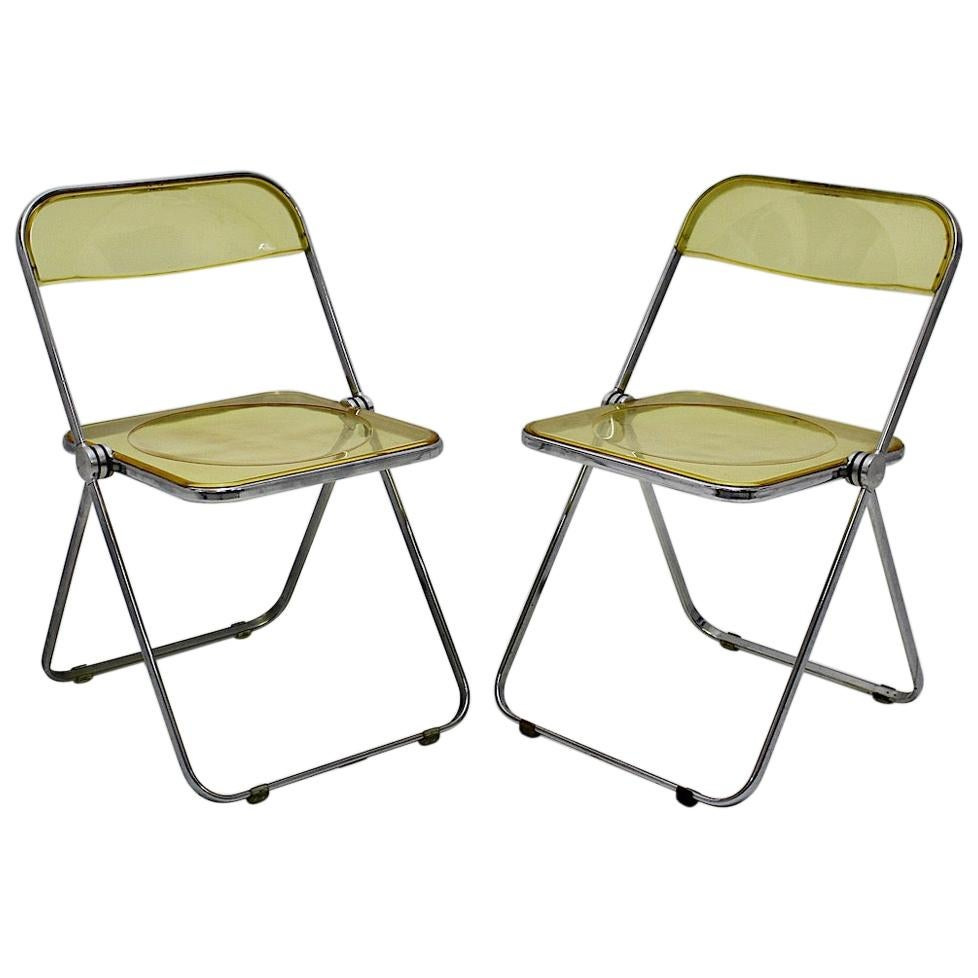 Space Age Yellow Lucite Plia Pair of Folding Chairs Giancarlo Piretti 1969 Italy