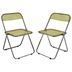 Space Age Yellow Lucite Plia Pair of Folding Chairs Giancarlo Piretti 1969 Italy