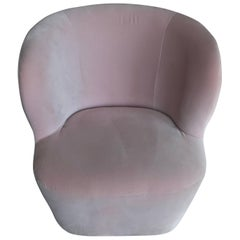 Space Copenhagen Stay Lounge Chair in Rose Cotton Velvet and Swivel Base