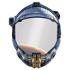 Space Cowboy, 21st Century Shaped Wall Mirror with Printed Astronaut Helmet