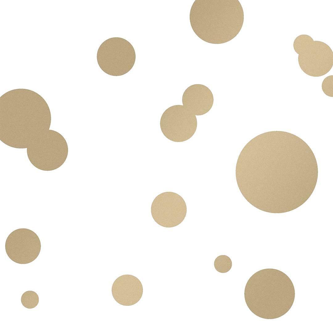 Space Dots Designer Wallpaper in Sphinx 'Metallic Gold on White'