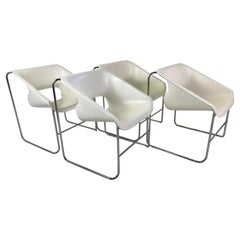 Space Modern 4 Stackable Lotus Armchairs by Paul Boulva for Artopex, Canada 1976