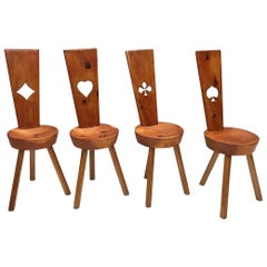 Spade, Club, Heart and Diamond Wood Chairs, Set of 4