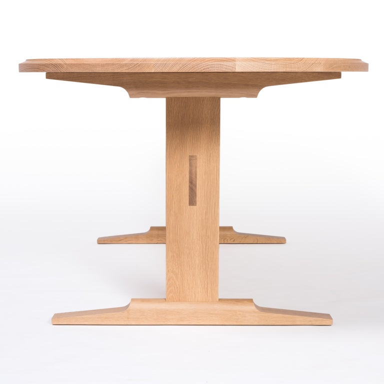 American Spade Dining Table by Tretiak Works, Modern Contemporary White Oak Trestle For Sale